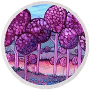 Cotton Candy Forest Round Beach Towel