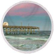 Cotton Candy Moonrise Round Beach Towel