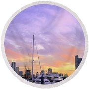 Cotton Candy Sunset Over Miami Round Beach Towel