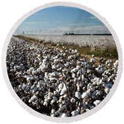 Cotton Field Round Beach Towel