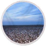 Cotton Fields At Dusk Casa Grande Arizona 2004 Round Beach Towel
