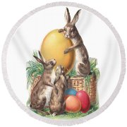 Cottontails And Eggs Round Beach Towel