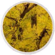 Cottonwood Fall Foliage Colors Abstract Round Beach Towel