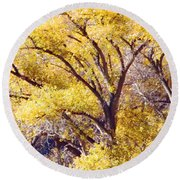 Cottonwood Golden Leaves Round Beach Towel