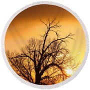 Cottonwood Sunrise - Vertical Print Round Beach Towel