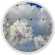 Couds With Lights Round Beach Towel