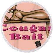Cougar Bait Round Beach Towel