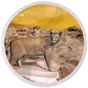 Cougar In The Mountain - 3d Render Round Beach Towel