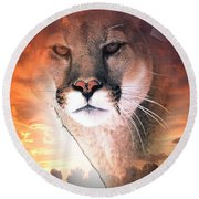 Cougar View Round Beach Towel