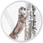 Cougars Tree Round Beach Towel