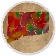 Counties Of Connecticut Colorful Vibrant Watercolor State Map On Old Canvas Round Beach Towel