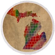 Counties Of Michigan Colorful Vibrant Watercolor State Map On Old Canvas Round Beach Towel