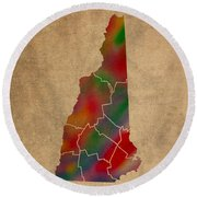 Counties Of New Hampshire Colorful Vibrant Watercolor State Map On Old Canvas Round Beach Towel