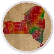 Counties Of New York Colorful Vibrant Watercolor State Map On Old Canvas Round Beach Towel