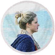Country Angel - Paint Fx Round Beach Towel