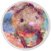 Country Bunny Round Beach Towel