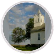 Country Chuch Round Beach Towel