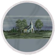 Country Church On A Summer Night Round Beach Towel