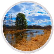 Country Clouds Round Beach Towel