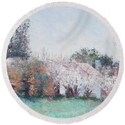 Country Cottage In Spring Time Round Beach Towel