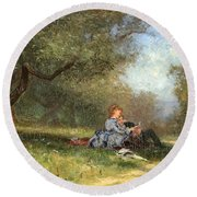 Country Couple Round Beach Towel