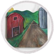 Country Day Round Beach Towel