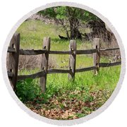Country Fence Round Beach Towel