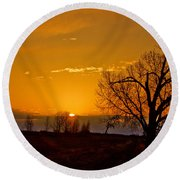 Country Golden Sunrise Round Beach Towel