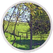 Country Green Round Beach Towel