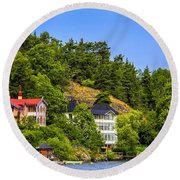 Country Homes Round Beach Towel
