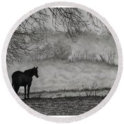 Country Horse Round Beach Towel