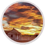 Country House Sunset Longmont Colorado Boulder County Round Beach Towel