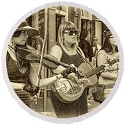 Country In The French Quarter 3 Sepia Round Beach Towel