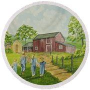 Country Kids Round Beach Towel
