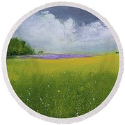 Country Landscape Round Beach Towel