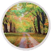 Country Lane - A Walk In Autumn Round Beach Towel