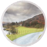 Country Lane In The Lakes Round Beach Towel