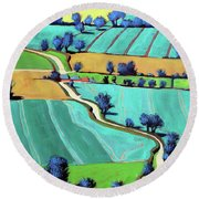 Country Lane Summer II Round Beach Towel