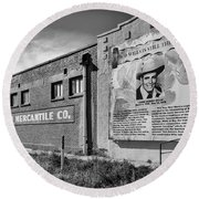 Country Legend Bob Wills In Roy New Mexico Round Beach Towel