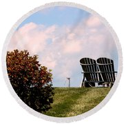 Country Life - Evening Relaxation Round Beach Towel