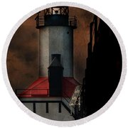Country Lighthouse Round Beach Towel