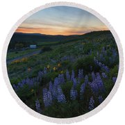 Country Meadow Sunset Round Beach Towel
