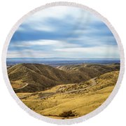 Country Mountain Roads No. 2 Round Beach Towel