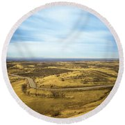 Country Mountain Roads Round Beach Towel