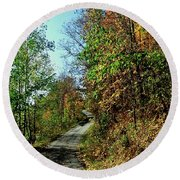 Country Path Round Beach Towel