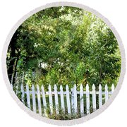 Country Picket Fence Round Beach Towel