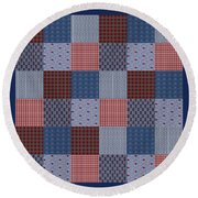 Country Quilt Round Beach Towel