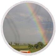 Country Rainbow Round Beach Towel