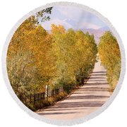 Country Road Autumn Fall Foliage View Of The Twin Peaks Round Beach Towel