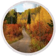 Country Road In Autumn Round Beach Towel